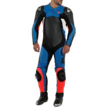 Dainese ASSEN 2 1 PC. PERF. LEATHER SUIT, BLACK/LIGHT-BLUE/FLUO-RED   20151346583C008, dai_201513465-83C_44 - Dainese