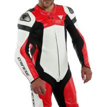 Dainese ASSEN 2 1 PC. PERF. LEATHER SUIT, WHITE/LAVA-RED/BLACK   201513465A60008, dai_201513465-A60_44 - Dainese