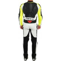 Dainese ASSEN 2 1 PC. PERF. LEATHER SUIT, BLACK/WHITE/FLUO-YELLOW   201513465Q90008, dai_201513465-Q90_44 - Dainese